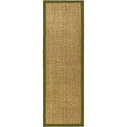 Handwoven Sisal Natural/Olive Border Seagrass Runner (2'6