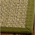 "Handwoven Sisal Natural/Olive Border Seagrass Runner (2'6"" x 14')"