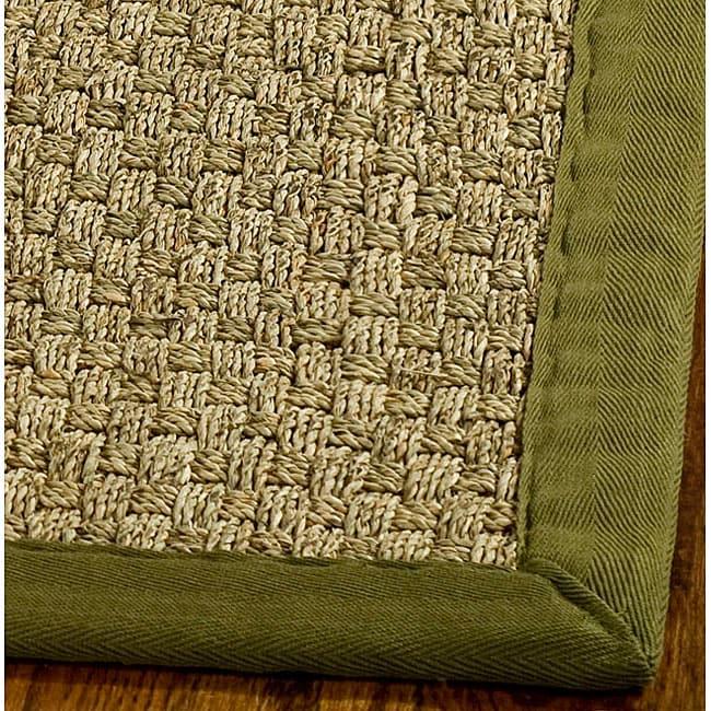 safavieh handwoven sisal natural olive seagrass rug with fringeless border 6 39 square. Black Bedroom Furniture Sets. Home Design Ideas