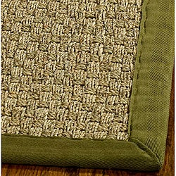 Handwoven Sisal Natural/ Olive Seagrass Rug with Fringeless Border (6' Square)