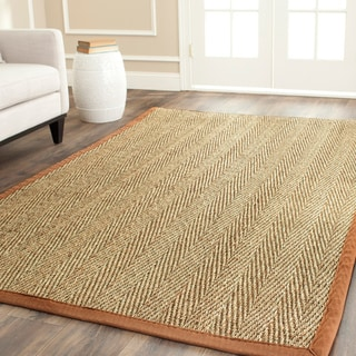 Hand-woven Sisal Natural/ Medium Brown Seagrass Runner (2'6 x 4')