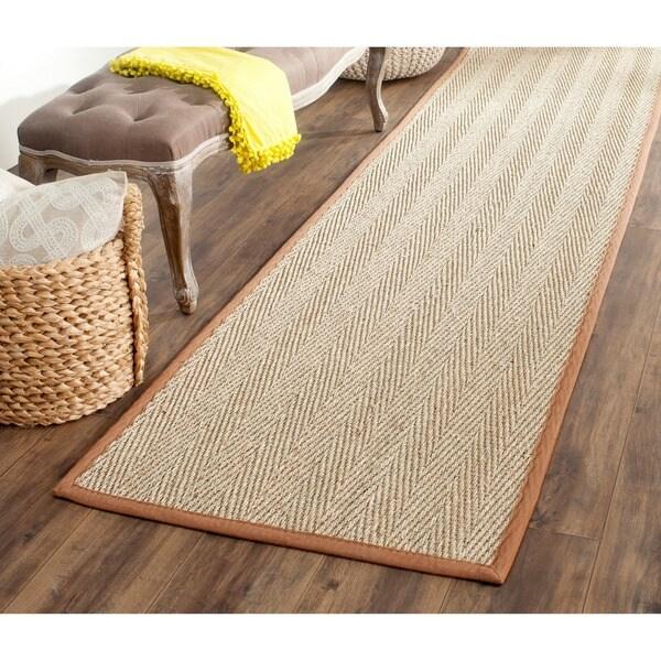 Safavieh Hand-woven Sisal Natural/ Medium Brown Seagrass Runner (2'6 x 6')