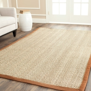 Hand-woven Sisal Natural/ Medium Brown Seagrass Rug (5&#39; x 8&#39;)