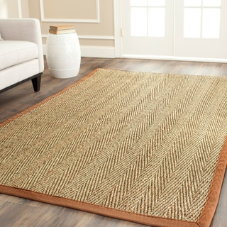 Hand-woven Sisal Natural/ Medium Brown Seagrass Rug (6' x 6')