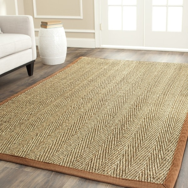 Safavieh Hand-woven Sisal Natural/ Medium Brown Seagrass Rug (8' Square)