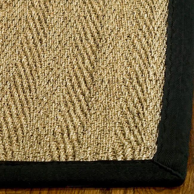 Seagrass Circular Rug: Safavieh Hand-woven Sisal Natural/ Black Seagrass Rug (6
