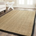 Safavieh Hand-woven Sisal Natural/ Black Seagrass Rug (6' Square)