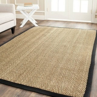 Safavieh Hand-Woven Sisal Natural/ Black Seagrass Bordered Rug (8' Square)