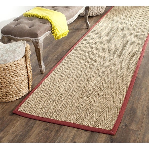 "Safavieh Handwoven Sisal Natural/Red Seagrass Runner Rug (2'6"" x 6')"