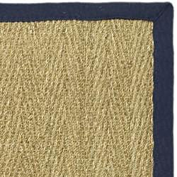 Hand-woven Sisal Natural/ Blue Seagrass Rug (5' x 8')