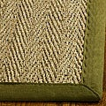 Hand-woven Sisal Natural/ Olive Seagrass Bordered Runner (2'6 x 10')