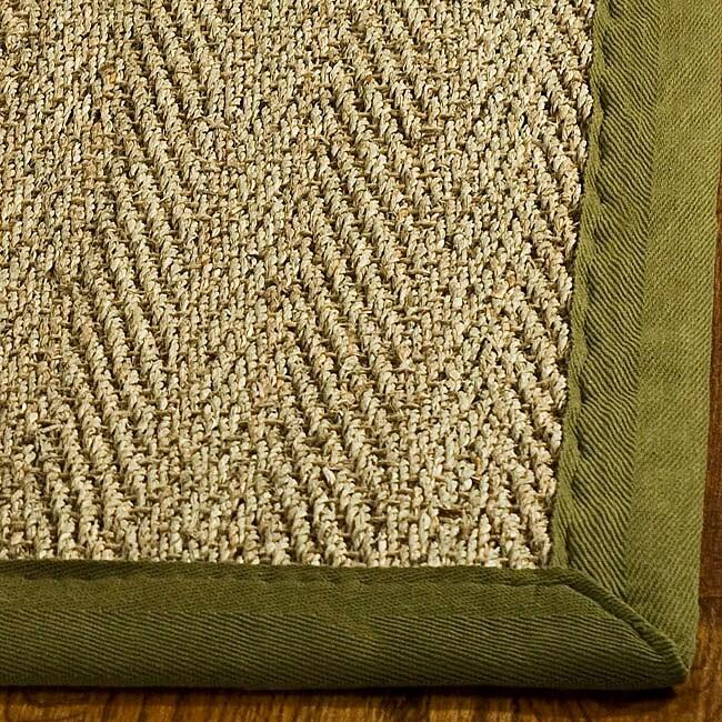 Safavieh Hand-woven Sisal Natural/ Olive Seagrass Runner (2'6 x 14')