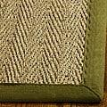 Safavieh Herringbone Natural Fiber Natural and Olive Border Seagrass Runner (2'6 x 14')