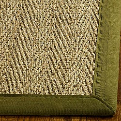 Handwoven Sisal Natural/Olive Seagrass Area Rug (8' Square)