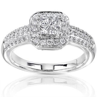 Annello 14k Gold 1/2ct TDW Diamond Princess Cut Halo Engagement Ring (H-I, I1-I2)