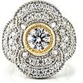 Michael Valitutti Palladium/ Silver/ 14k Gold Cubic Zirconia Ring