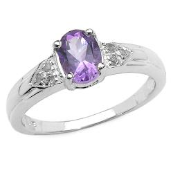 Malaika Sterling Silver Amethyst and Diamond Ring
