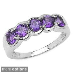 Malaika Sterling Silver Round 5-gemstone Ring