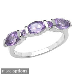 Malaika Sterling Silver Oval and Round Amethyst or Citrine Ring