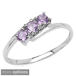 Malaika Sterling Silver Round-cut 3-gemstone Bypass Ring