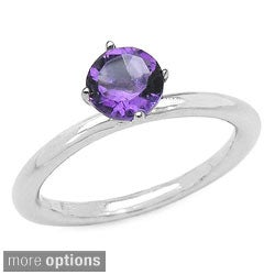 Malaika Sterling Silver Round-cut Gemstone Solitaire Ring