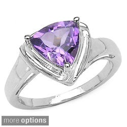 Malaika Sterling Silver Trillion-cut Amethyst or Blue Topaz Ring