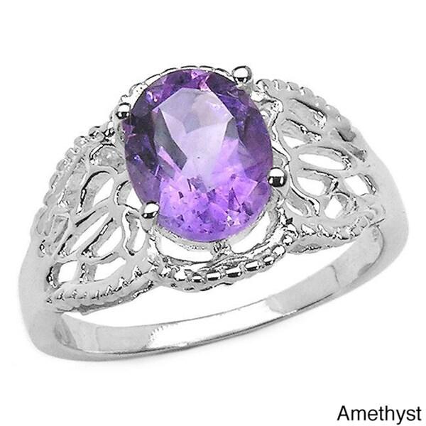 Malaika Sterling Silver Oval-cut Gemstone Filigree Ring