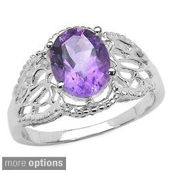 Malaika Sterling Silver Oval-cut Gemstone Filigree Ring