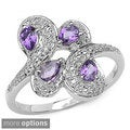 Malaika Sterling Silver Pear-cut Gemstone Bypass Ring