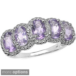 Malaika Sterling Silver Oval-cut Gemstone Tiered Rope Design Ring