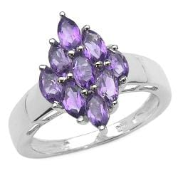 Malaika Sterling Silver Marquise-cut Amethyst Diamond-shaped Ring