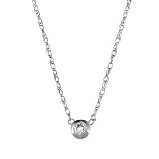 14k White Gold Diamond Bezel Necklace