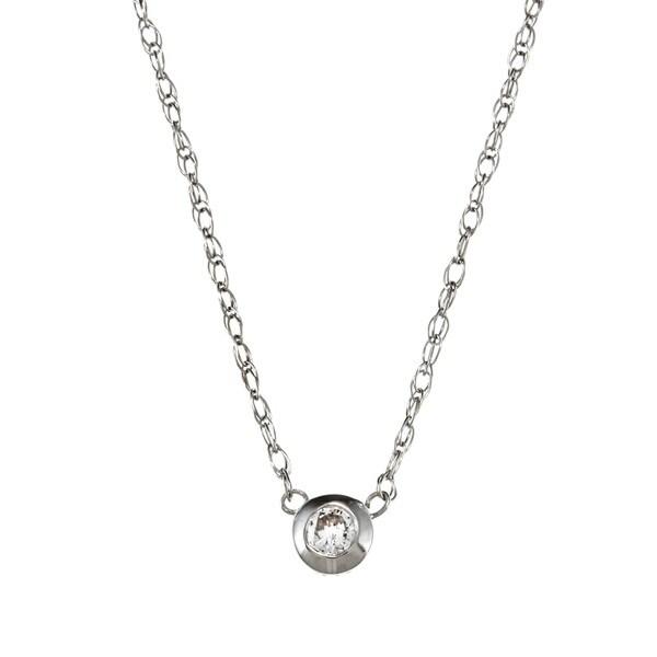 14k White Gold Diamond Bezel Necklace