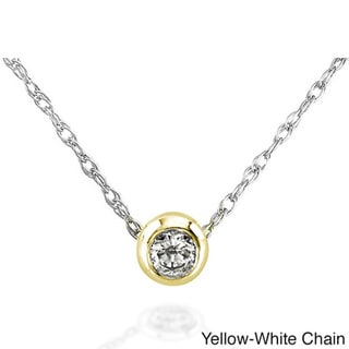 Annello 14k Gold 1/10ct TDW Diamond Solitaire Necklace (H-I, I1-I2)