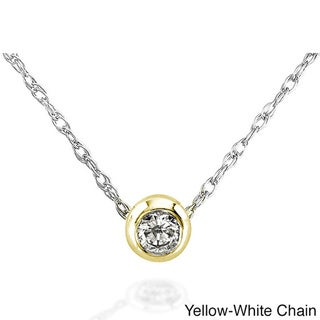Annello 14k Gold 1/10ct TDW Diamond Solitaire Necklace with Gift Box