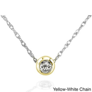 Annello 14k Gold 1/10ct TDW Diamond Solitaire Necklace with Gift Box (H-I, I1-I2)