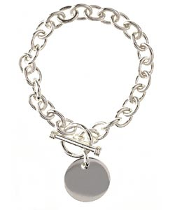 Sterling Essentials Sterling Silver 7.5-inch Round Toggle Bracelet