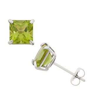 Gioelli 10k White Gold Square Peridot Stud Earrings