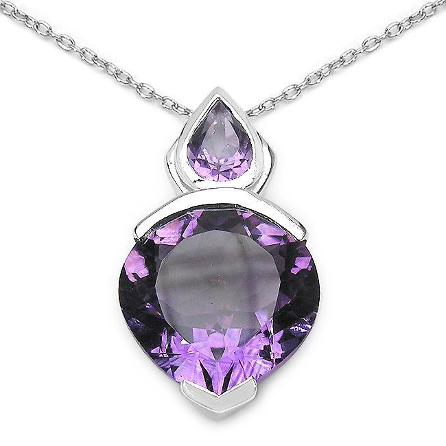 Malaika Sterling Silver Heart-shaped Genuine Amethyst Necklace