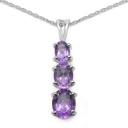 Malaika Sterling Silver Genuine Amethyst 3-stone Journey Necklace