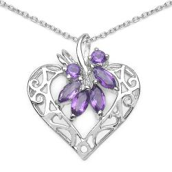 Malaika Sterling Silver Genuine Amethyst Openwork Heart Necklace
