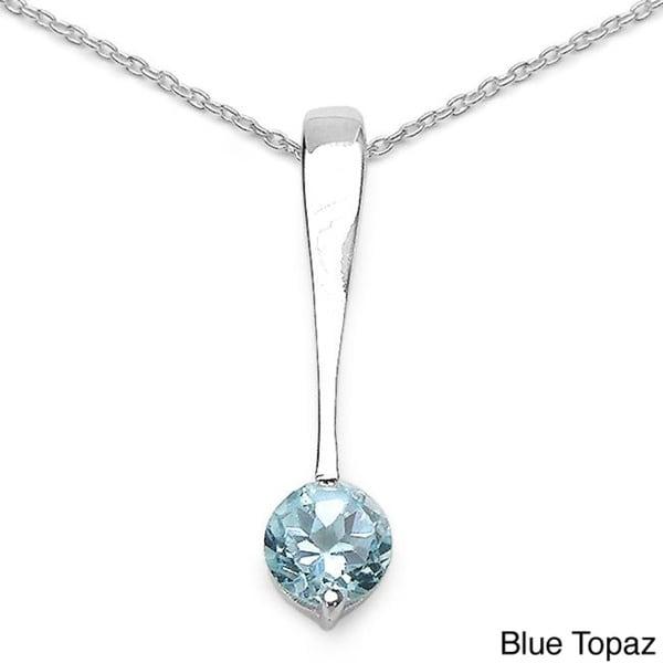 Malaika Sterling Silver Gemstone Dangle Necklace