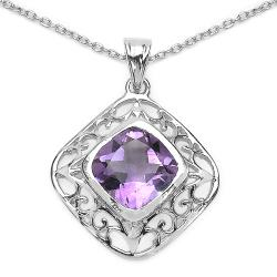 Malaika Sterling Silver Genuine Amethyst Diamond-shaped Filigree Necklace