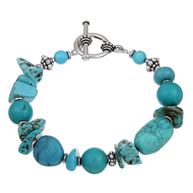 Charming Life Pewter Turquoise Chip Bracelet