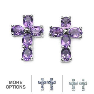 Malaika Sterling Silver Gemstone Cross Earrings
