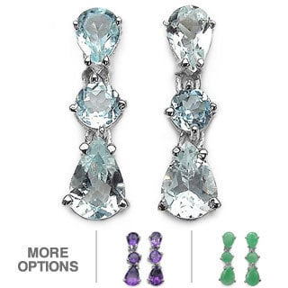 Malaika Sterling Silver Pear-shaped Gemstone Earrings
