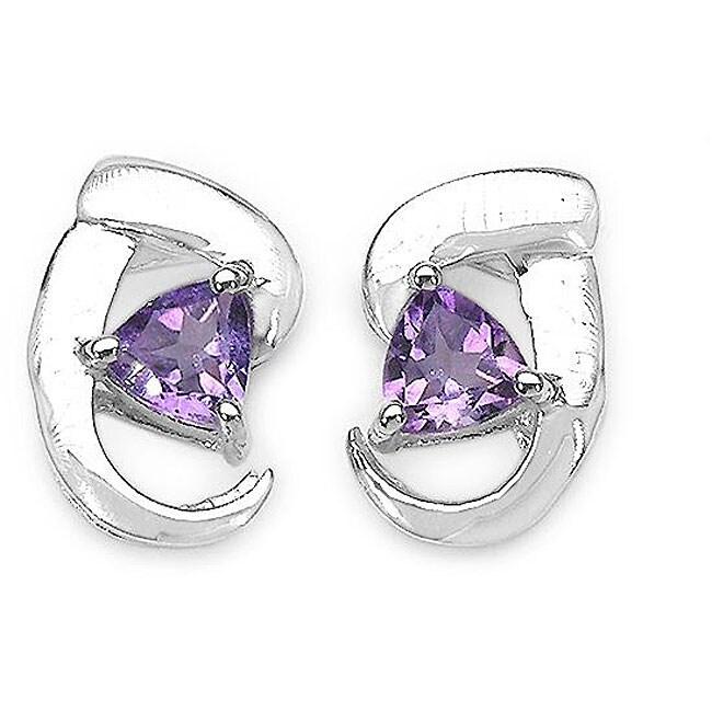 Malaika Sterling Silver Genuine Amethyst Stud Earrings