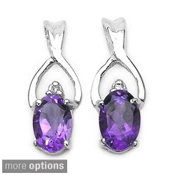 Malaika Sterling Silver Gemstone and Diamond Earrings (H-K,I3)