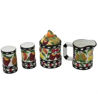 Fruit Delight Hand-painted 4-piece Counter Top Set