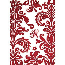 Alliyah Handmade Red New Zealand Blend Wool Rug(8 x 10')